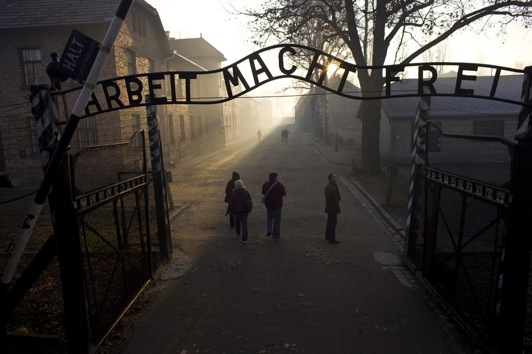The Main Gate to the Auschwitz extermination camp.